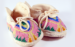 Native American child beaded moccasins