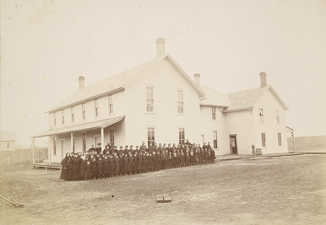 Indian Students in front of Boarding School