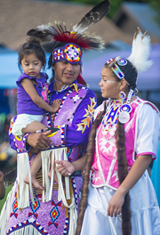 Indian Family at Pow Wow Tribal Dress